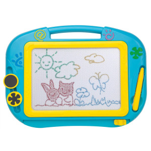 ikidsislands IKS88B [Travel Size] Color Magnetic Drawing Board for Kids and Toddlers - Non Toxic Mini Magna Sketch Doodle Educational Toy for Boys, with 1 Pen and 2 Stamps (Blue)