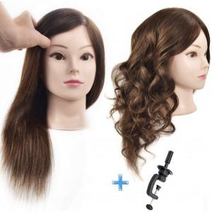 Cosmetology 100% Human Hair Mannequin Head Manikin Training Head 16 with Free Clamp