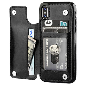 iPhone X Wallet Case with Card Holder,OT ONETOP Premium PU Leather Kickstand Card Slots Case,Double Magnetic Clasp and Durable Shockproof Cover(Black)