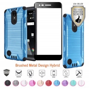 LG Aristo case, Fortune case, Phoenix 3 case, Rebel 2 case, Risio 2 case with Full Tempered Glass Screen Protector, Heavy Duty Metallic Brushed Slim Hybrid Shockproof Dual Layer Cover (Blue)