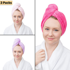 Wrap and Twist Microfiber Super Absorbent Bath Hair Towel by Fine Touch (R)