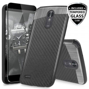 LG Stylo 3 Case, LG Stylo 3 Plus Case, with TJS [Full Coverage Tempered Glass Screen Protector] Ultra Slim Fit Protective Shockproof Anti-Scratch Carbon Fiber Case Built-in Metal Plate Back (Black)