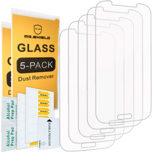 [5-PACK]- Mr Shield For Samsung Galaxy S4 [Tempered Glass] Screen Protector [0.3mm Ultra Thin 9H Hardness 2.5D Round Edge] with Lifetime Replacement Warranty