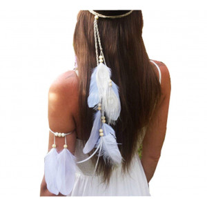 Set of 2 White Bohemian Feather Tassels Headband with Armband Gypsy Hippie Peacock Headwear Headdress Woman Girls Favorite Hair Accessories