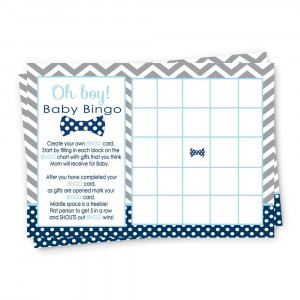 Bow Tie Baby Shower Bingo Games Card Set (25 Pack) Fill-In