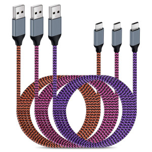 USB Type C Cables,Aupek USB C(6FT, 3Pack) Nylon Braided Cords USB Type A to C Fast Charger for Samsung Galaxy S9,Note 8,S8 Plus,LG V30 V20 G6 G5,Google Pixel,Nexus 6P 5X,Moto (Purple Orange Rose)