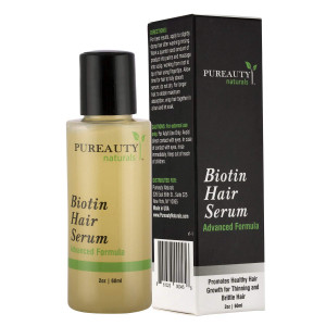 Biotin Hair Growth Serum by Pureauty Naturals  Advanced Topical Formula to Help Grow Healthy, Strong Hair  Suitable For Men and Women Of All Hair Types  Hair Loss Support