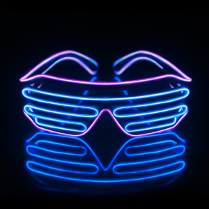 Led Light Up Neon Shutter Party Glasses for Parties Decorations(Purple+Blue)