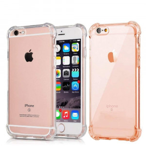 [2Pack] CaseHQ Crystal Clear case for iPhone 6S Plus,iPhone 6 Plus,Enhanced Grip Protective Defender Cover Soft TPU Shell Shock-Absorption Bumper Anti-Scratch Air Cushioned 4 Corners case Clear+Pink