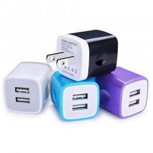 Ehoho USB Wall Charger, USB Charger 2.1A/5V Dual Port Charging Station Wall Charger Block Charging Cube Compatible iPhone X/8/7/6/6S/SE/5/5S, Samsung, HTC, LG, Motorola, Tablet and Android (4Pack)