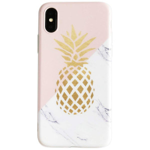 iPhone X Case for Girls, Flexible Soft Slim Fit Full Protective Cute Shell Phone Case with Marble and Golden Pineapple Pattern for iPhone X 5.8 Inch (Marble Pineapple)