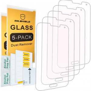 [5-PACK]- Mr Shield For Samsung Galaxy S5 [Tempered Glass] Screen Protector [0.3mm Ultra Thin 9H Hardness 2.5D Round Edge] with Lifetime Replacement Warranty