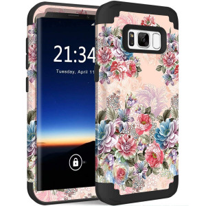 """Galaxy S8 Case, Hocase Drop Protection Shock Absorbing Silicone Rubber Bumper+Hard Shell Hybrid Dual Layer Full-Body Protective Case for Samsung Galaxy S8 (5.8"""") 2017 - Peony Floral Print/Black"""