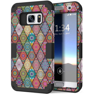 Galaxy S7 Case, Hocase Heavy Duty Protection Shock Absorbent Silicone Bumper+Hard Plastic Dual Layer Full-Body Protective Phone Case for Samsung Galaxy S7 (SM-G930) - Mandala Flowers/Black