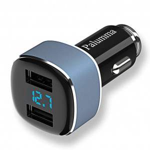 Palumma Car Charger, 4.8A/24W Dual USB Fast Charger with Car Voltage Meter and Current Detection, 12V to USB Zinc Alloy Charger Adapter for iPhone Xs X 8 7 Plus, Galaxy S9 S8 S7 S6, LG, Sony (Blue)