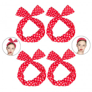 Ondder Wire Headband 4 Pack Retro Bowknot Polka Dot Wire Hair Holders for Women and Girls, Red