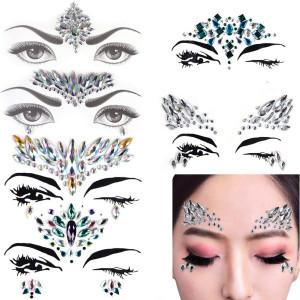 6 Sets Mermaid Face Gems Festival Jewels Crystals Bindi Rainbow Tears Rhinestone Tattoo Face Rocks by PIAOPIAONIU