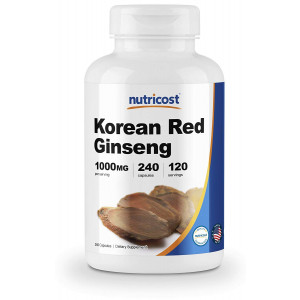 Nutricost Korean Ginseng 500mg, 240 Capsules - 1000mg Extra Strength Serving Size - Korean Red Ginseng - Gluten Free and Non-GMO