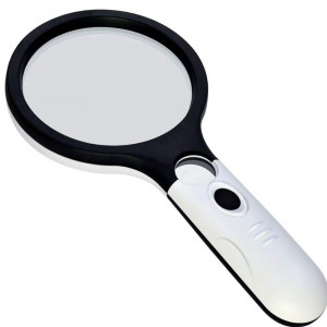 Large 4 LED Handheld Magnifying Glass with Light, Nydotd 4X 30X Lens Portable Illuminated Magnifier For Reading, Macular Degeneration, Repair, Hobby and Crafts, 4.8 Inches (White and Black)