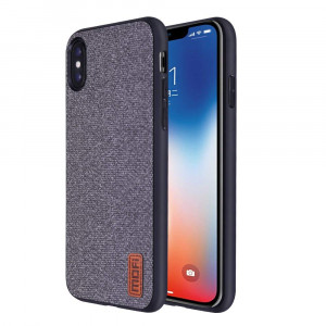 Mofi iPhone X Case Covers with Art Cloth and Soft TPU Edge and Full-Edge Protection Shock- Absorbing and with Great Grip Fully Compatible for iPhoneX(Gray)