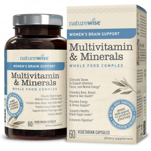 NatureWise Women's Brain Support Multivitamin  Whole Foods Complex with Vitamins and Minerals for Healthy Heart, Bones ( Watch Product Video in Images) Cognizin, Brain Energy, Focus and Memory, 60 Ct