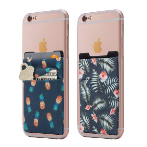 (Two) Stretchy Cell Phone Stick On Wallet Card Holder Phone Pocket For iPhone, Android and all smartphones. (PineappleandPalm)