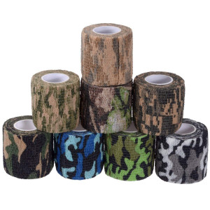 Camouflage Tape Cling, Camouflage Tape Camo Adhesive Tape Camo Form Camouflage Gun Gear Self Cling Stretch Wrap Sport Camo Tapes 8 colors