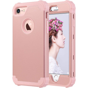 ULAK iPhone 8 Case, iPhone 7 Case, Heavy Duty Protection Shockproof Hybrid Soft Silicone and Hard PC Rugged Bumper Anti Slip Full-Body Protective Cover for iPhone 7 4.7 inch, Rose Gold