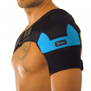 Shoulder Support Brace - Adjustable Sleeve, With Compression Pad and E-Book by Zeegler Orthosis - Therapy for Pain Relief and Injuries like Dislocated AC Joint, Bursitis, Rotator Cuff, Labrum Tear
