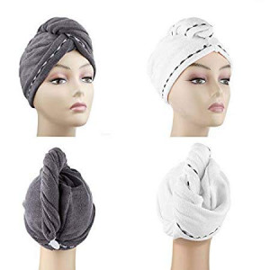 Microfiber Hair Drying Towels, Fast Drying Hair Cap, Long Hair Wrap,Absorbent Twist Turban, White, Dark Gray (2 pack)