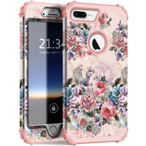iPhone 8 Plus Case, Hocase Drop Protection Shockproof Silicone Rubber Bumper+Hard Shell Hybrid Dual Layer Full-Body Protective Phone Case for Apple iPhone 7 Plus/8 Plus - Peony/Rose Gold