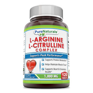 Pure Naturals L-Arginine/L-Citrulline Complex (1000 Mg - 120 Tablets) * Combines Two Amino Acids with Potential Health Benefits * Supports Energy Production * Aids to Improve Athletic Performance an