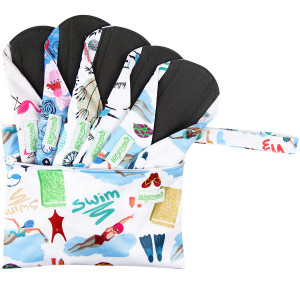 Wegreeco Bamboo Reusable Sanitary Pads (New Pattern) - Cloth Sanitary Pads, Cloth Pads, Reusable Menstrual Pads - 5 Pack Pads, 1 Cloth Mini Wet Bag Bonus (Medium, Dynamic)