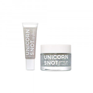 Unicorn Snot Holographic Glitter Lip Gloss + Gel, Combo Pack, Vegan and Cruelty-Free (Silver)