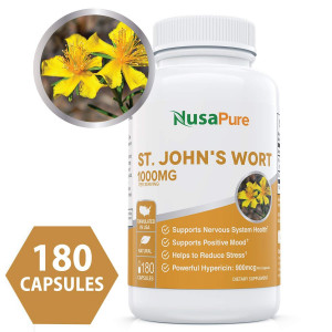 Best St. John's Wort 1000mg 180 Capsules (Non-GMO) Powerful 900mcg Hypericin Saint Johns Wort Extract for Mood, Anxiety and Depression Support (500mg per Capsule) - 100% Money Back Guarantee