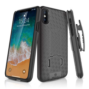 iPhone X Holster Case, WizGear Slim Shell Holster Combo Case for Apple iPhone X/iPhone 10 with Kick-Stand and Swivel Belt Clip - Black