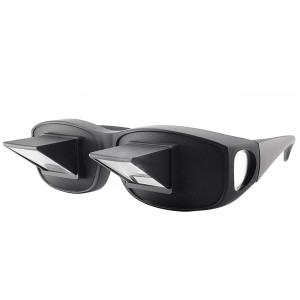 Anrri Bed Prism Glasses Lazy Spectacles Horizontal Glasses Lie Down Reading/Watching TV, Myopia usable,Black