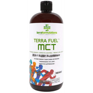 Terra Fuel MCT Oil, 70% C8 Caprylic Acid, 32 oz,2X More Efficient, Best Value Amazon, 3-in-1 Ketogenic Supplement, Proven for Endurance Sports, Appetite Control, Weight Loss, 30% C10 Acid Laurics
