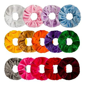 Ondder 14 Pack Hair Scrunchy Velvet Scrunchies Hair Bobble Elastics Hair Bands Headbands Women Scrunchies Bobbles Hair Ties, 14 Colors