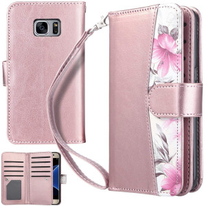 UrbanDrama Case for Galaxy S7, S7 Wallet Case Kickstand Floral Premium PU Leather Flip Folio Magnetic Credit Card Slot Cash Holder Protective Case Compatible for Samsung Galaxy S7, Rose Gold
