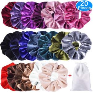 EAONE 20 Pack Velvet Hair Scrunchies Colorful Velvet Hair Ties Scrunchy Bobble Hair Bands, 20 Colors