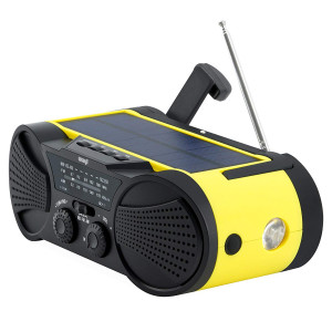 Emergency Weather Radio 4000mAh - Portable, Solar Powered, Hand Crank, AM FM NOAA Weather Stations, USB Cell Phone Charger, SOS Alarm, LED Flashlight and Reading Light Radio - Buzz4000
