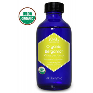 Zongle USDA Certified Organic Bergamot Essential Oil, Italy, Safe to Ingest, Citrus Bergamia, 1 oz