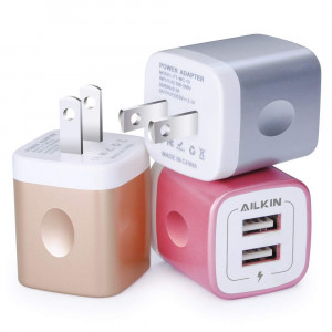 USB Charging Box, Charger Adapter, Ailkin 3-Pack 2.1Amp Dual Port Fast Charge Plug Cube Base Replacement for iPhone X/8/7/6S/6S Plus/6, Samsung Galaxy S7/S6/S5 Edge, LG, HTC, Huawei, Moto, Kindle