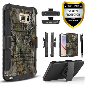 Note 5 Case, Galaxy Note 5 Case, Combo Phone Cover Kickstand with [HD Screen Protector] and Built-in Holster Locking Belt Circlemall Stylus Pen For Samsung Galaxy Note 5 -Camouflage