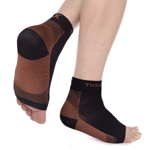 Thx4 Copper Compression Recovery Foot Sleeves for Men and Women, Copper Infused Plantar Fasciitis Socks for Arch Pain, Reduce Swelling and Heel Spurs, Ankle Sleeve with Arch Support-L/XL