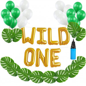 16 INCH WILD ONE Kids First Birthday Balloons with 12 PCS Artificial Palm Leaves, Baby Girl Boy 1st Bday Party Supplies with Air Pump