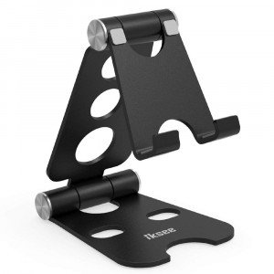"""Adjustable Cell Phone Stand, iKsee Smartphone Tablet Stand, Dual Foldable Phone Holder, Cradle iPhone 8 X 7 6 6s Plus 5 5s 5c Tablet E-Reader(4-13""""), Desk Accessories-Black"""