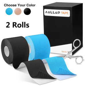 "Aollop Kinesiology Tape, Elastic Therapeutic Sports Tape for Plantar Fasciitis Knee Shoulder Elbow,Water Resistant, Breathable,Latex Free,2"" x 16.5 feet (Including Folding Scissor)"