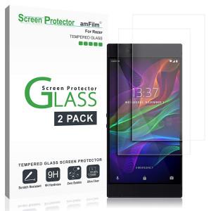 amFilm Razer Phone Screen Protector Glass, Tempered Glass Screen Protector for Razer Phone 2017 (2-Pack)